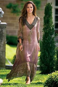Driftwood Beach Caftan & Slip Spectacular dip-dyed chiffon caftan glows with embellished gold metallic paisleys, plus extravagant golden beadwork at the neckline and three-qu
