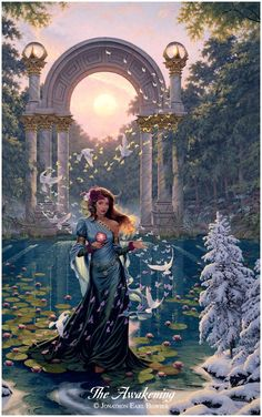 ...an oil painting of Aurora, the Goddess of Spring, bringing Life to the sleeping winter landscape...