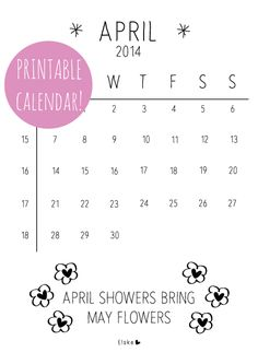 Elske: april - printable calendar