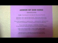 A little song about the Armor of God  (Ephesians 6:10-18) sung to the tune of 'The Wheels on the Bus'