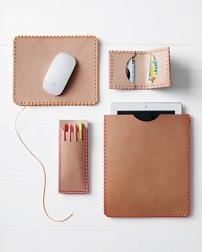 Pair raw leather with colorful lanyard accents to make accessories such as a mouse pad, wallet, pen case, and iPad sleeve.
