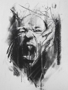 guy denning  _  I didn't put this in character design & Illustration because even though its very facial and expressionistic - its only shows a finished sketch, and you are only seeing one pose. It is nice and intense - the rubber marks and charcoal framing make it          more authentic, but its not a working progress - definitely a finished 'one off' sketch.