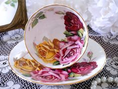 Antique Aynsley Tea Cup and Saucer, Large Pink and Yellow Roses, Floral Teacup…