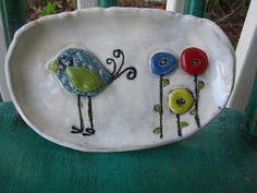 Whimsical Blue Bird Soap Dish or Spoon rest by ShoeHouseStudio, $15.00