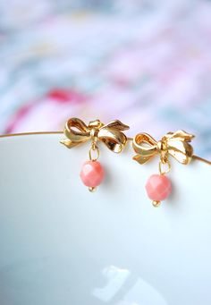 Coral Pink Ribbon Post Earrings - Delicate, pretty and romantic, bow stud earrings with a delicate glass bead - europe - Christmas in July. $28.06