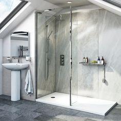 Walk In Showers | Walk In Shower Enclosures UK | VictoriaPlum.com Shower Tray Sizes, Walk In Shower Tray, Walk In Shower Designs, Open Showers, Small Showers, Walk In Bathroom Showers, Small Bathrooms, Beautiful Bathrooms, Walk In Shower Enclosures