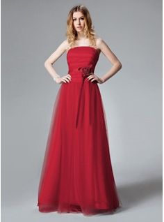 A-Line/Princess Strapless Floor-Length Satin Tulle Bridesmaid Dress With Ruffle Flower(s) (007013085) - JJsHouse
