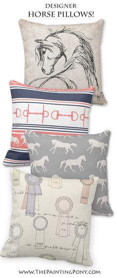 Horse Pillows - equestrian throw pillows for the living room or horse lover's bedroom home decor. Beautiful horses and pony themed pillow cushion designs perfect for the hunter jumper rider, dressage, and cowgirl horseback riding enthusiast.