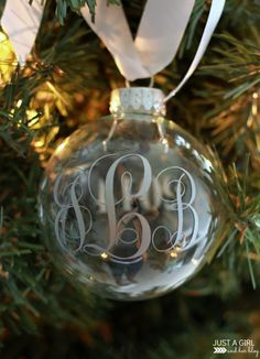 Monogrammed Christmas Ornaments - a Silhouette project from Just a Girl and Her Blog