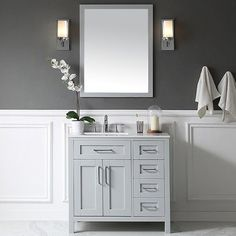 "Found it at AllModern - Tahoe 36"" Single Bathroom Vanity Set with Mirror in Dove Gray"