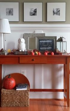 Welcoming Fall Entry - the wainscoting is just gorgeous!