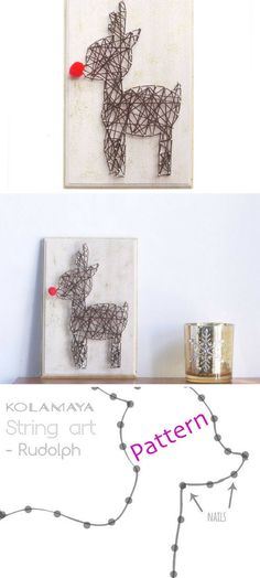 How cute is this!? ... Give the gift of Christmas with this awesome little DIY Rudolph String Art kit!! #aff