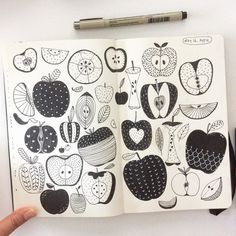 Day 16 Apple #CBDrawADay #creativebug #sketchbook #moleskineart #linedrawing #doodle #apple by hee_cookingdiary
