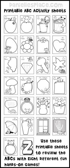 ABC Printable Activity Sheets with Eight Fun Hands-on Games to Review the Alphabet from www.daniellesplace.com