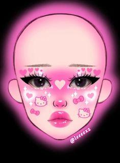 Makeup de Hello Ketty hecho por la diosa @leeeexz Makeup Drawing, Eye Makeup Art, Pink Makeup, Girls Makeup, Makeup Inspo, Makeup Inspiration, Kawaii Makeup, Cute Makeup, Makeup Face Charts