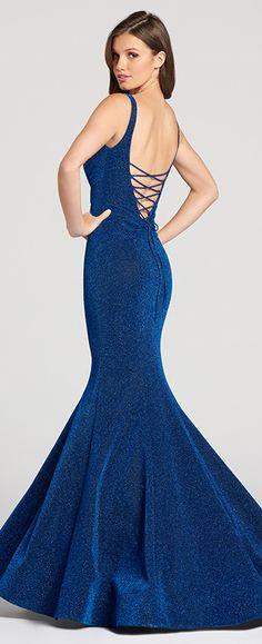 cac80cf341e0ba Sleeveless novelty sparkle jersey mermaid prom dress