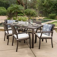 "Edene Outdoor 7-piece Wicker Rectangular Dining Set  Includes: One (1) table and six (6) chairsTable dimensions: 35.50""D x 59.00""W x 29.25""HChair dimensions: 26.00""D x 21.00""W x 34.25""H  http://outdoorgear.mobi/product/edene-outdoor-7-piece-wicker-rectangular-dining-set/"