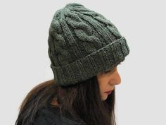 Forest Green knit hat/ cable knit hat/ rolled brim beanie hat/ women knit hat/ winter hat/knit beanie hat/  Christmas gift / unisex hat by PepperFashion on Etsy