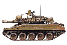 """M551 Sheridan. I was a driver and loader in """"Night Owl"""", Troop E, 151st Cavalry, ARARNG, 1980-1982. Unlike this one, ours had chicken plates all around the TC hatch. The M551 had a 152mm main gun, an M2 .50 caliber rooftop machinegun, a 7.62mm coaxial machinegun, and 8 grenade launchers. Only weighing 18 tons, it was air droppable and could swim standing lakes and slow rivers. Sheridan Tank, Military Armor, Model Tanks, Armored Fighting Vehicle, World Of Tanks, Military Equipment, Armored Vehicles, War Machine, Vietnam War"""