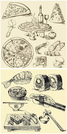 Pizza  and sushi