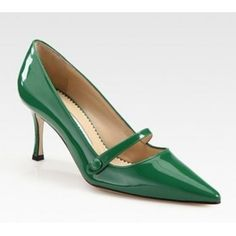 Manolo Blahnik Patent Leather Point Toe Mary Jane Pumps $177