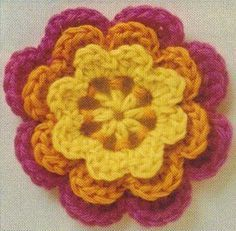 Three Layered Crochet Flower Picture tutorial step by step