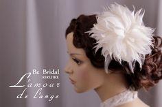 Bridal feather flower  head piece.