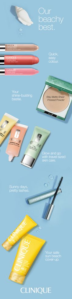 Easy summer makeup and skin care create a radiant look. Chubby Sticks are quick and easy to use. Stay-Matte Sheer Pressed Powder is a shine-busting, oil-free powder. Skin care minis are travel-sized for convenience. Waterproof mascara won't budge, and SPF sun protection is essential.