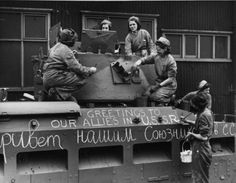 British Matilda tank being prepared for delivery to Soviet Union.