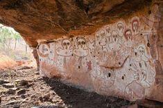 AUSTRALIA, Western Australia, West Kimberley. Wandjina (creator beings), rock art style painted during last 4000 years.