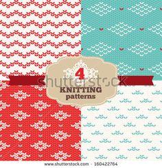 Set of knitting patterns - stock vector