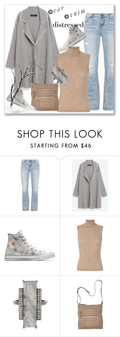 """""""True Blue: Distressed Denim"""" by andrejae ❤ liked on Polyvore featuring Silver Jeans Co., Gola, Converse, T By Alexander Wang, ADORNIA, Bueno, distresseddenim, polyvoreeditorial and polyvorecontest"""