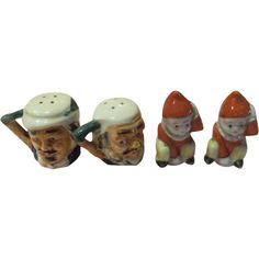 Tiny Twosome Toby head and Clown Salt and Pepper Shakers - b172