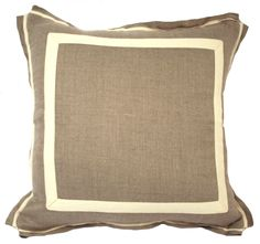 NATURAL LINEN W/ NATURAL TWILL TAPE THROW PILLOW