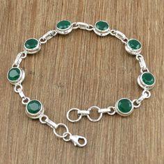 Green Onyx 925 Sterling Silver Jewelry Beautiful Classic Bracelet Size 19 cm #Handmade #Bracelet