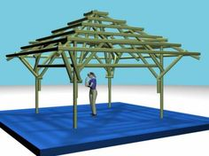 Stamm Bamboo Gazebo Design: 11' x 11' 3-D auto cad image - Bamboo Arts and Crafts Gallery