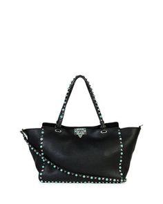 Rockstud Medium Turquoise Studs Tote Bag, Black by Valentino at Neiman Marcus.