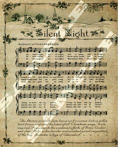 Christmas Holiday Religious Silent Night Sheet Music Printable Download Tag Sign 8x10