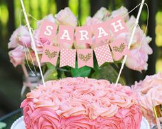 Personalized Blush Bunting Cake Topper – Mix and Bash