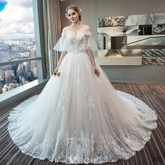 Chic / Beautiful Ivory Wedding Dresses 2018 Ball Gown Off-The-Shoulder 1/2 Sleeves Appliques Lace Sequins Beading Backless Ruffle Chapel Train