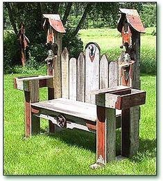 Double Birdhouse Bench Like our Facebook page! https://www.facebook.com/pages/Rustic-Farmhouse-Decor/636679889706127 #birdhouses #WoodBenchDIY
