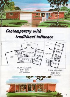 A fantastic Mid Century home - ranch house with floor plans. Vintage House Plans, Modern House Plans, House Floor Plans, Vintage Homes, Exterior Design, Interior And Exterior, Mison, Cabana, Mcm House