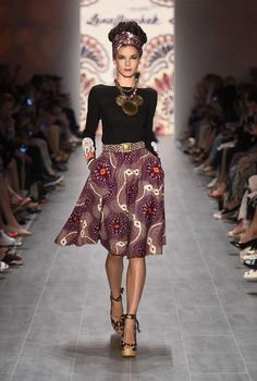 Lena Hoschek SS 2015 - RTW - Berlin Fashion Week - I like the solid shirt with the print skirt and wrap. Great look!
