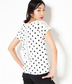 Vente T-shirt femme dentelle et pois Ecru noir TM - Tee shirt Camaieu. Ce  t-shirt femme très féminin a une coupe droite, des empiècements dentelle  aux ... 72f4789870d