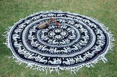 Black White Elephant Mandala Roundie Beach Throw – TheNanoDesigns