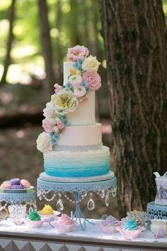light blue ombre wedding cake