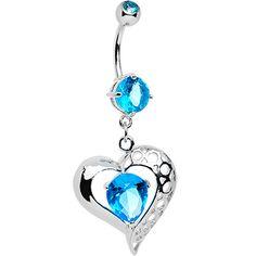 Aqua CZ Tender Heart Dangle Belly Ring | Body Candy Body Jewelry #bodycandy #piercings #bellyring