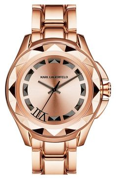 KARL LAGERFELD '7' Faceted Bezel Bracelet Watch, 44mm x 53mm available at #Nordstrom
