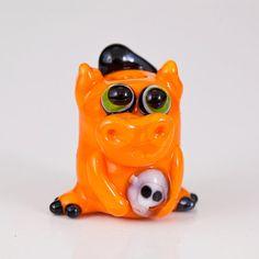 Orange Halloween Dragon Lampwork Glass Bead  ghost by maybeads