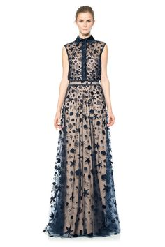 Starfish Embroidered Tulle Sleeveless Shirtwaist Gown with Satin Collar and Piping Detail   Tadashi Shoji